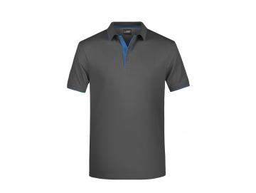 Men´s Polo Stripe - graphite / aqua
